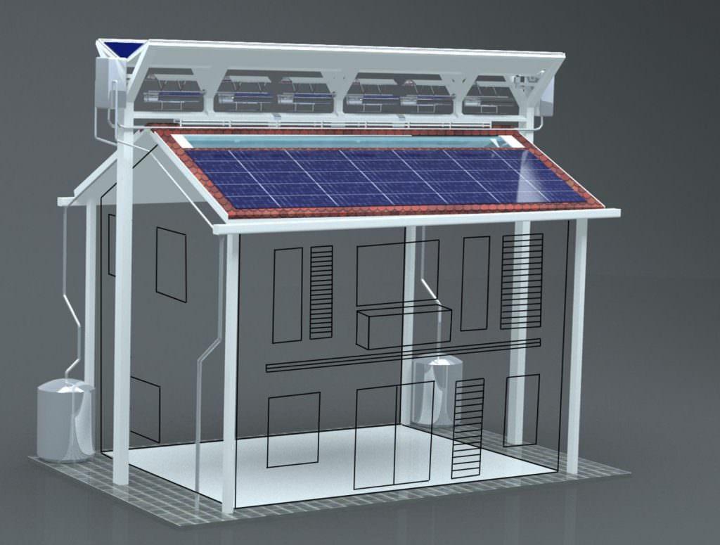 Os pesquisadores dizem que seu telhado poderia suportar cerca de seis pessoas, gerando mais de 21.200 kWh de energia por ano, economizando mais 1.840 kWh por causa de suas clarabóias. Crédito: University of Malaya